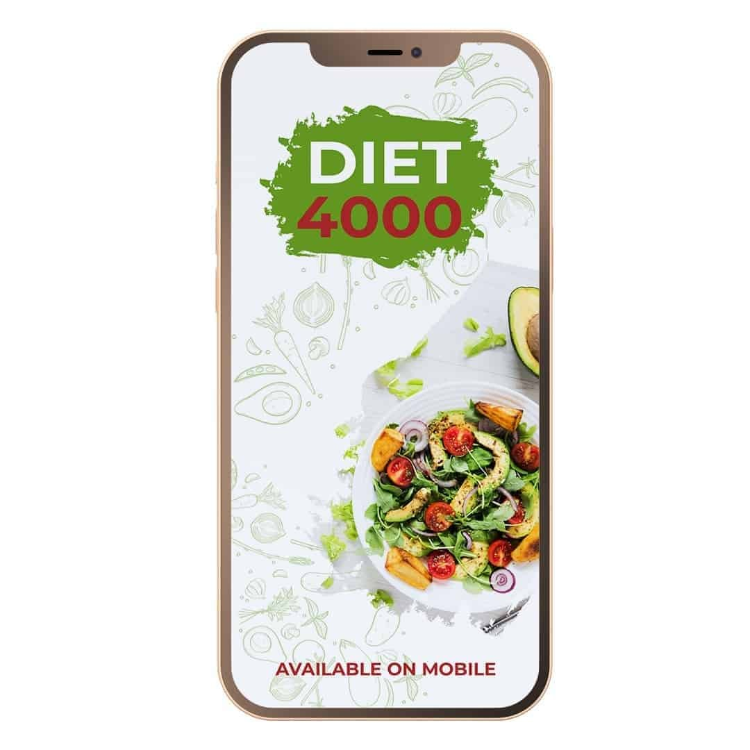 Diet 4000 showcased that it is Available on Mobile, with a salad on the right side of the screen.