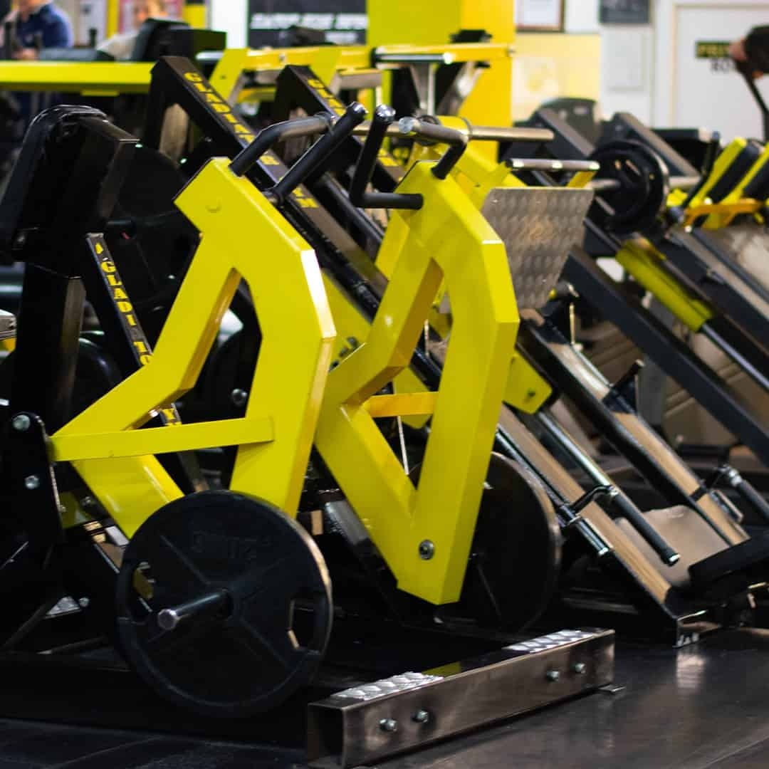 Tose Zafirov Gladiator Fitness Center showcasing the gear it has within the gym itself in a distinctive yellow color