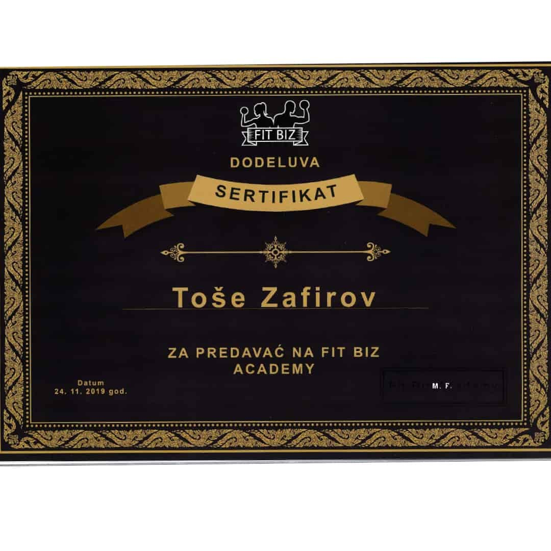 FIT BIZ Certificate given to Tose Zafirov for being a lecturer at the Fit Biz Academy