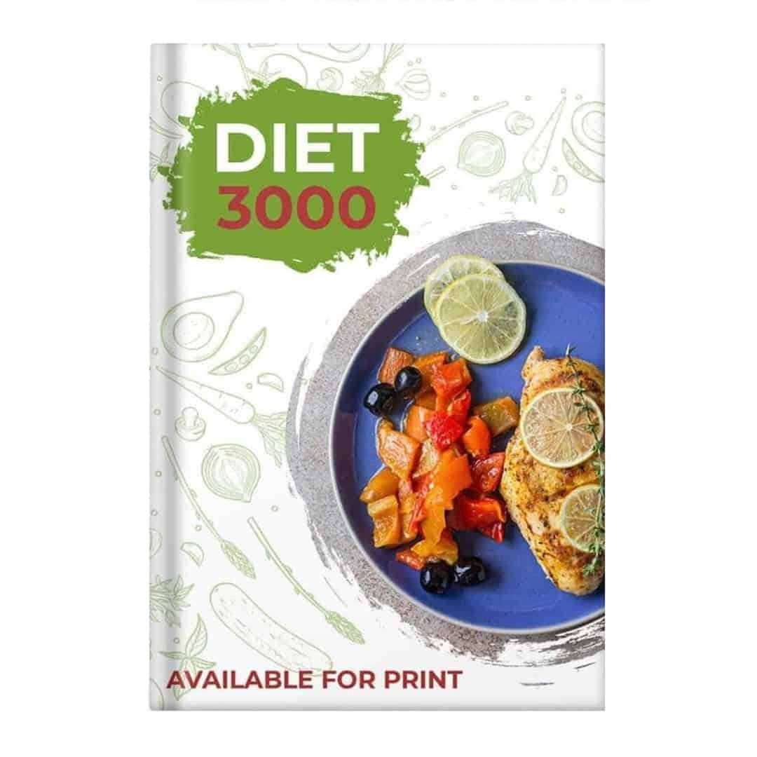 Diet 3000 Mockup Available for Print showcasing food such as a steak and vegetables in a blue plate.