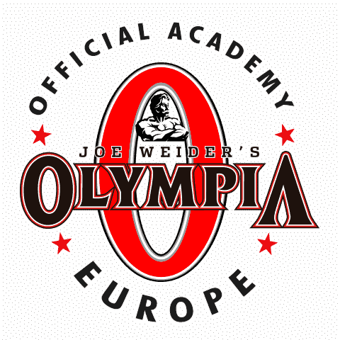 The logo of Mr. Olympia, Joe Wider in black adn ed color, on a transparent background.