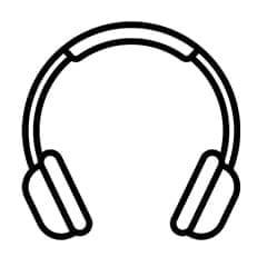 an animated image of headphones in black colour