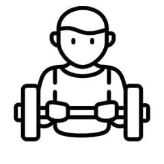 An animated image in black of a boy lifting weights
