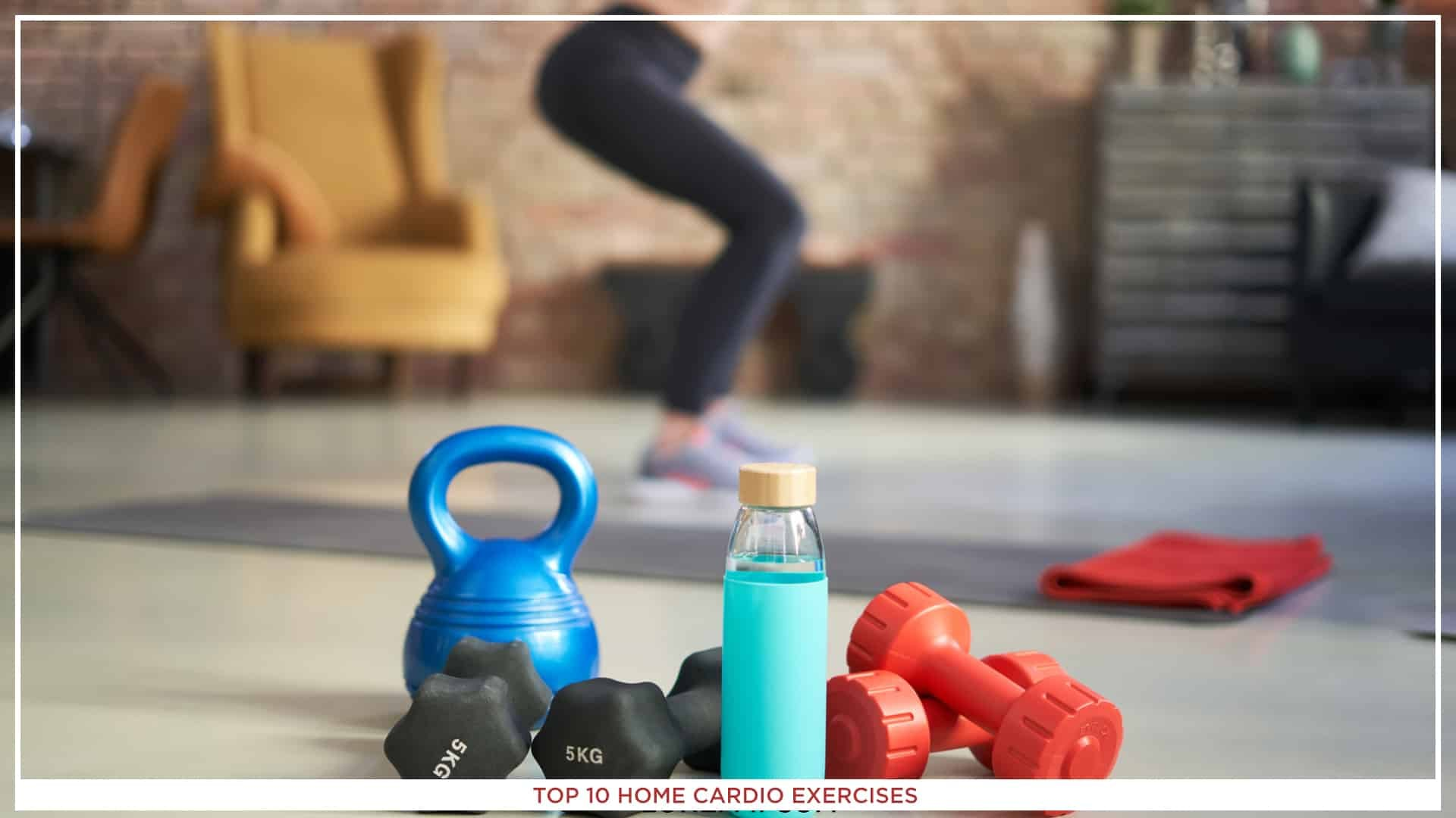 An image of small drumbbells, and a bottle of water, with a girl doing home cardio exercise in the background.