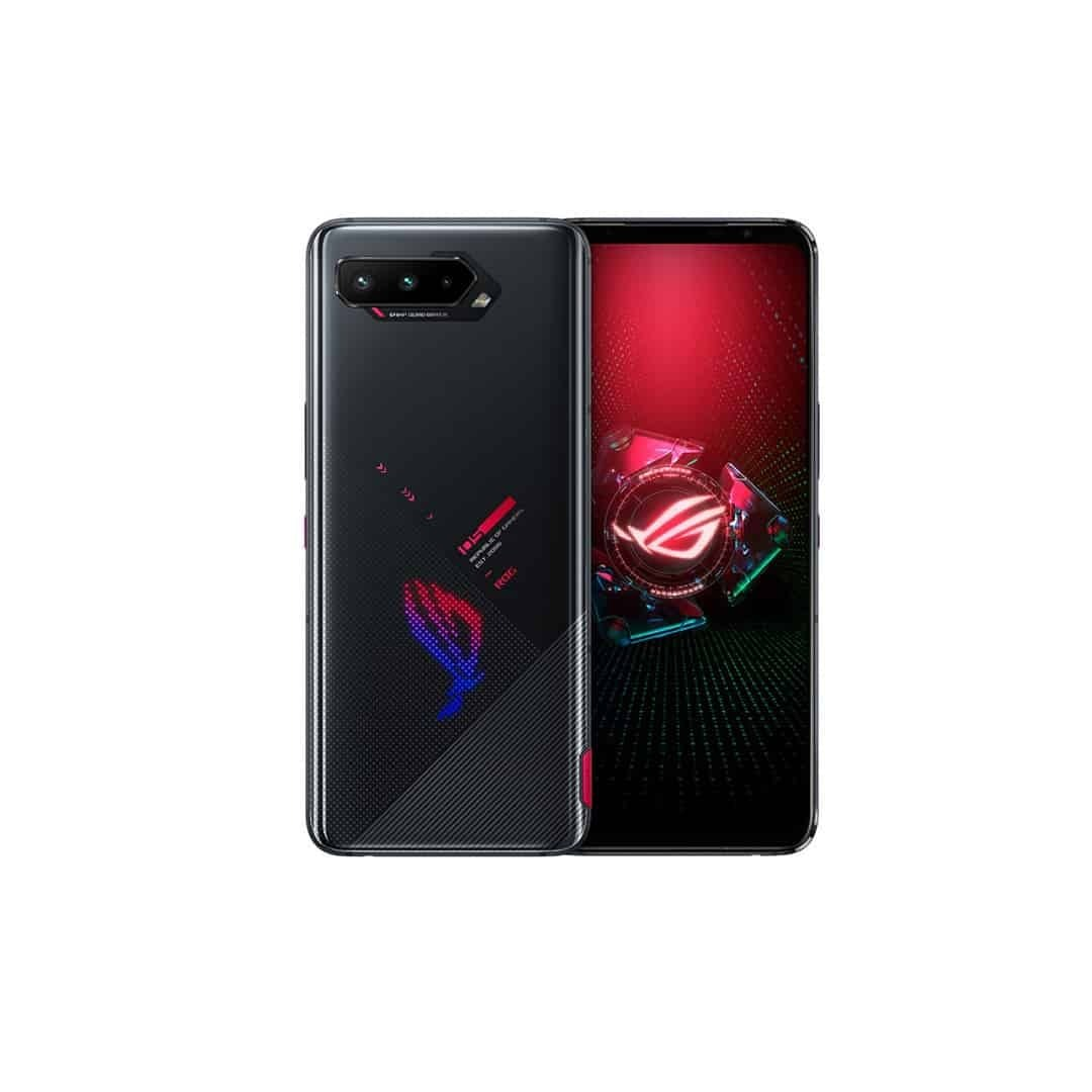 An image of Asus ROG Phone 5 in black, with both sides, on a white background.