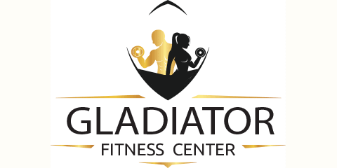 gladiator fitness center logo, with gold male and black female silhouette lifting weights