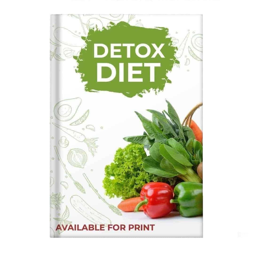 Detox Diet Mockup Available on Desktop showcasing vegetables such as tomatoes, cucumbers, and mushrooms on a white background
