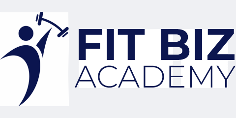 FitBiz Academy Official Logo, which is a men silhouette holding a weight, in a navy blue colour.