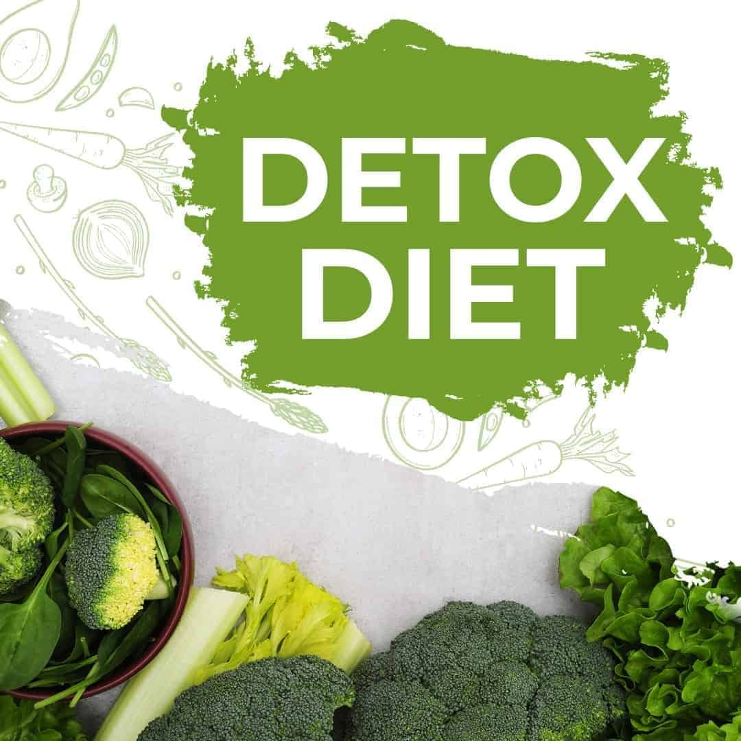 Detox Diet Mockup Featured Image showcasing broccoli, and other green vegetables in the lower part of the photo.