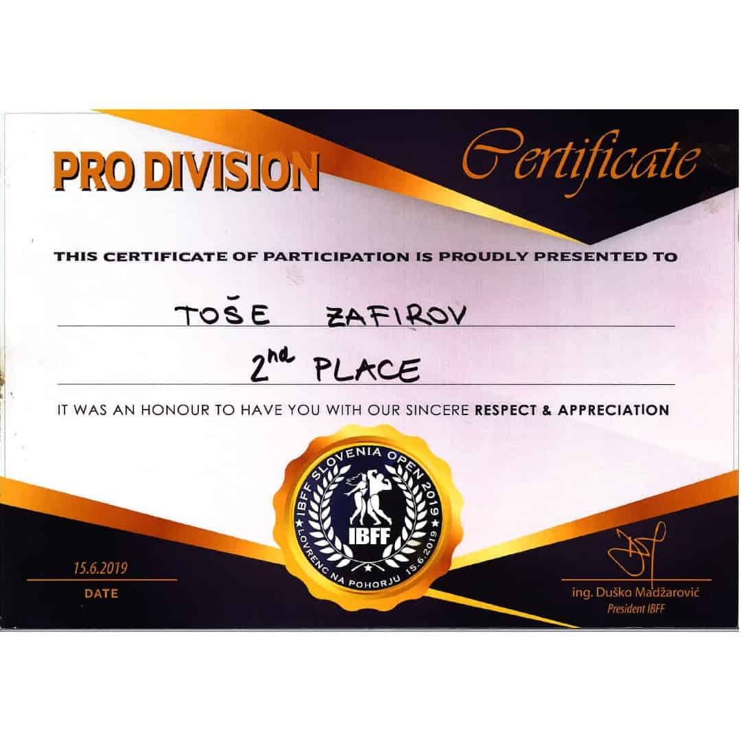 Pro Division Certificate for Tose Zafirov for attaining and getting in 2nd Place