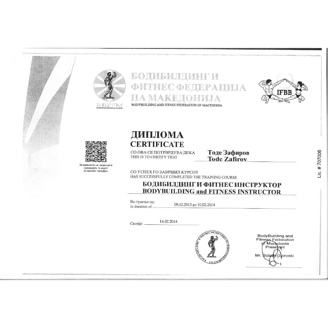 Bodybuilding and Fitness Federation of Macedonia Certificate for Tose Zafirov on being a Bodybuilding and Fitness Instructor