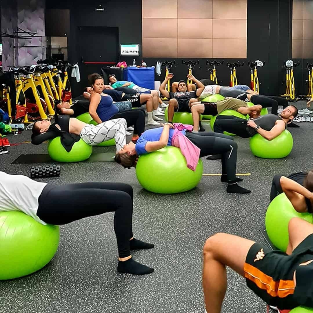 The students of the Fit Biz academy training on green exercise balls in the Pulse Fitness Centre