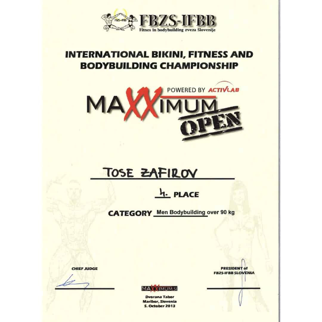 Maxximum Open powered by Activlab international bikini, fitness and bodybuilding championship, Certificate given to Tose Zafirov for winning 4th place