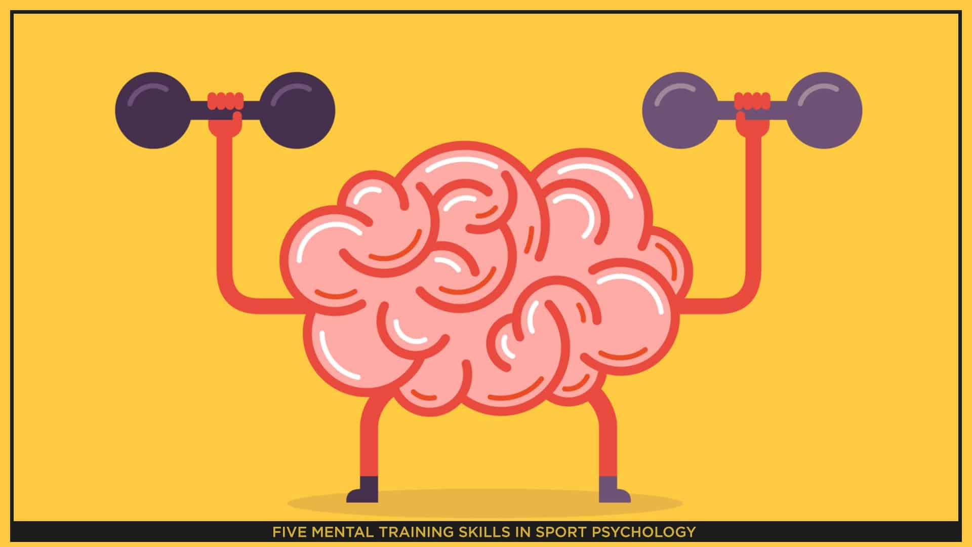 An animated image of a brain in pink colour, while lifting weights, on a yellow background.