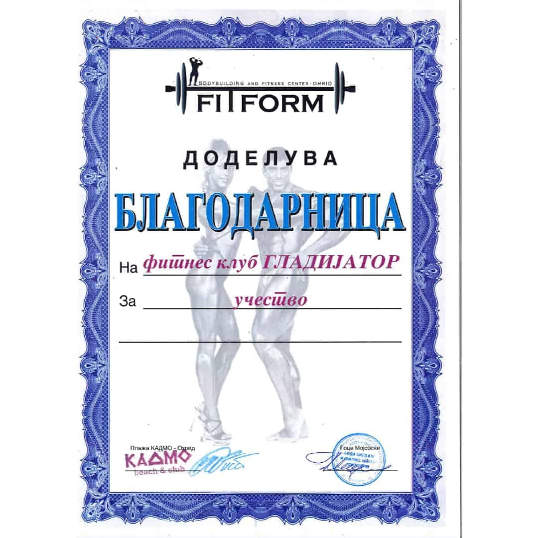 A thank you note given to Tose Zafirov for his fitness club Gladiator participating in Fitform