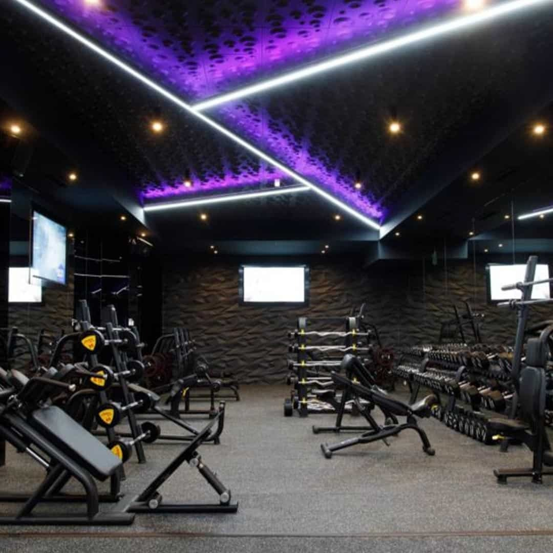 An image of the Pulse Fitness Center with weights on it.