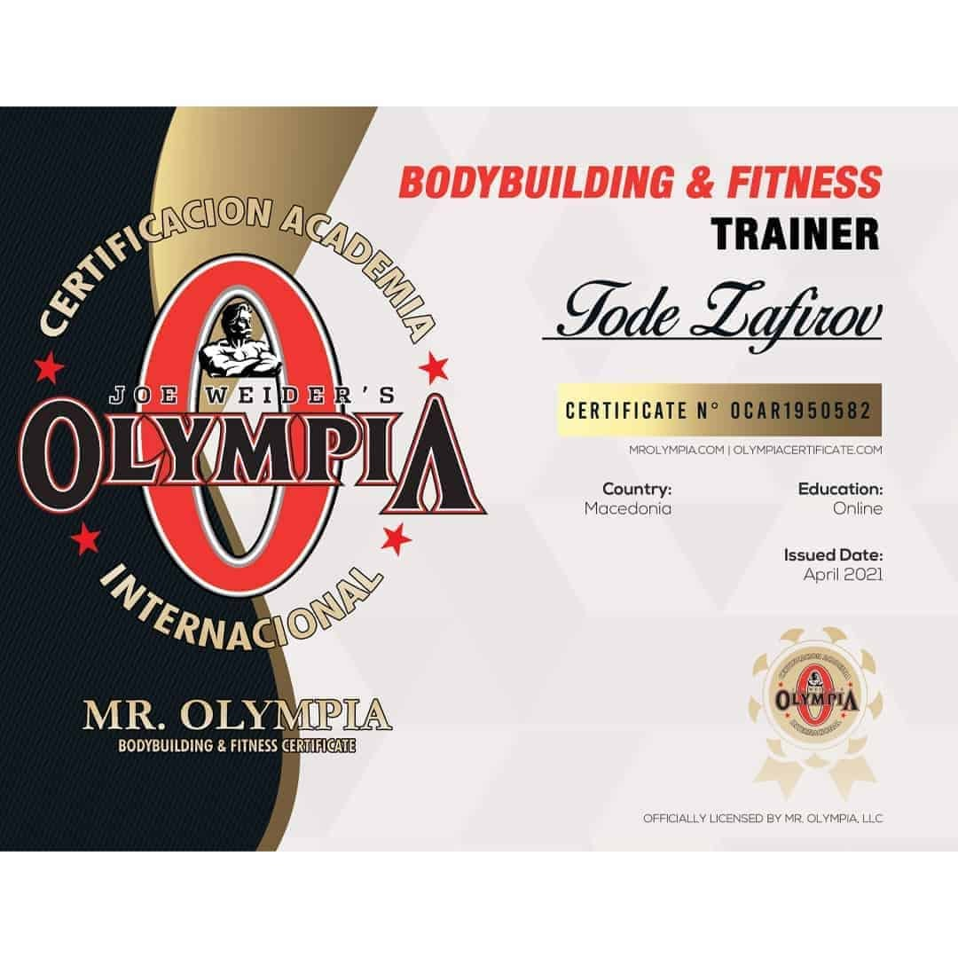 Mr. Olympia certificate for bodybuilding and fitness trainer to Tose Zafirov