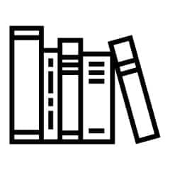 an animated image in black with books aligned in order