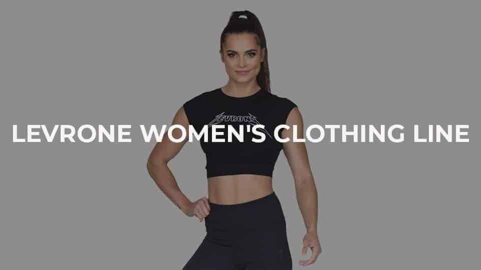A girl posing in black crop top and black leggings from Levrone Series. ''Levrone Women's Clothing Line'' is in the focus of the photo.