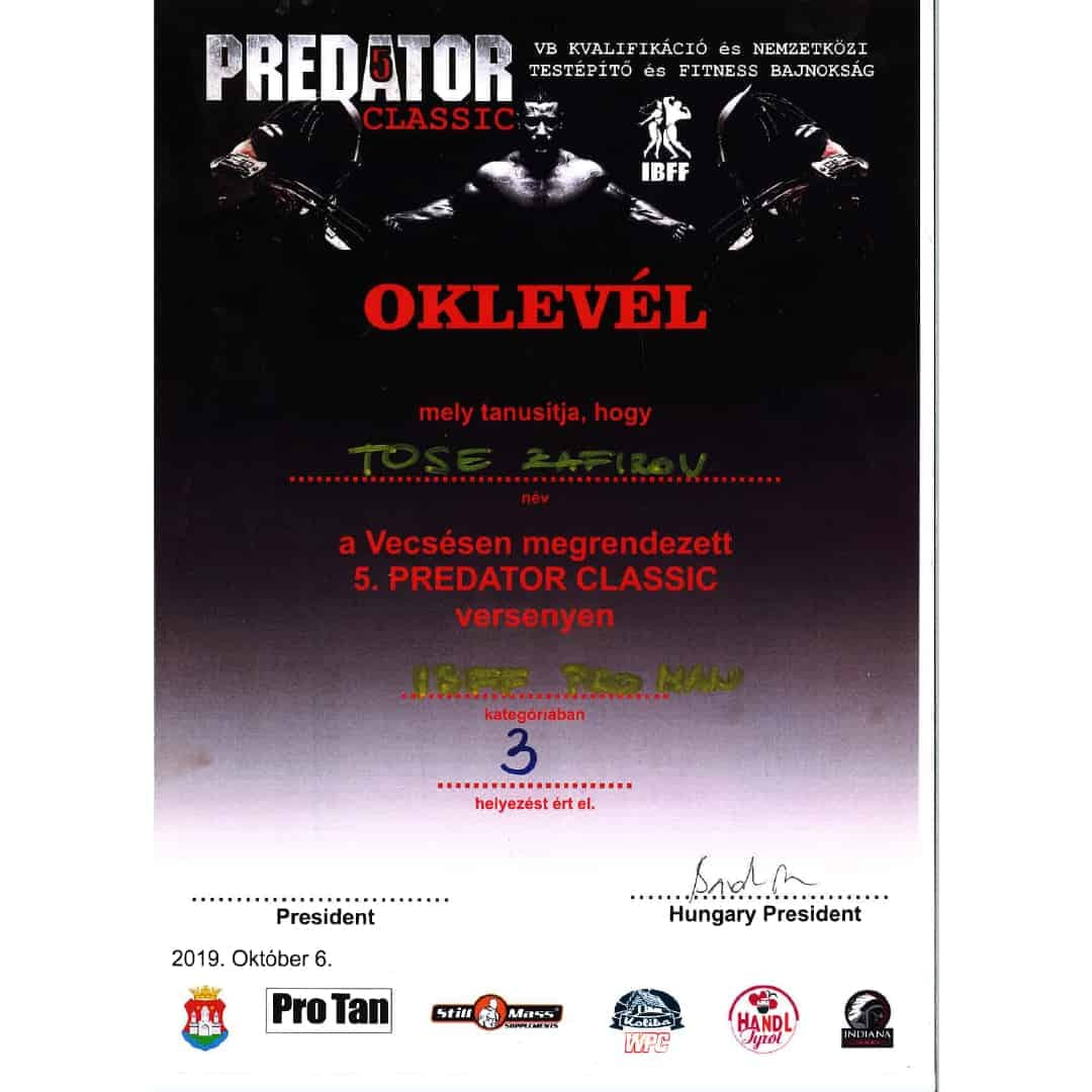 Certificate given to Tose Zafirov for getting 3rd palce in the PRO Category on OKLEVEL competition in Hungary