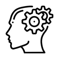 An animated image of a mind showcased in gears in a black colour