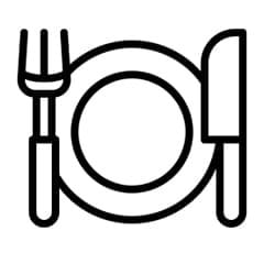 an animated image of plate, fork and knife in a black colour
