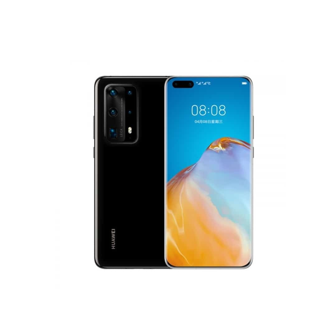 An image of black, Huawei P40 Pro, with both sides, on a white background.