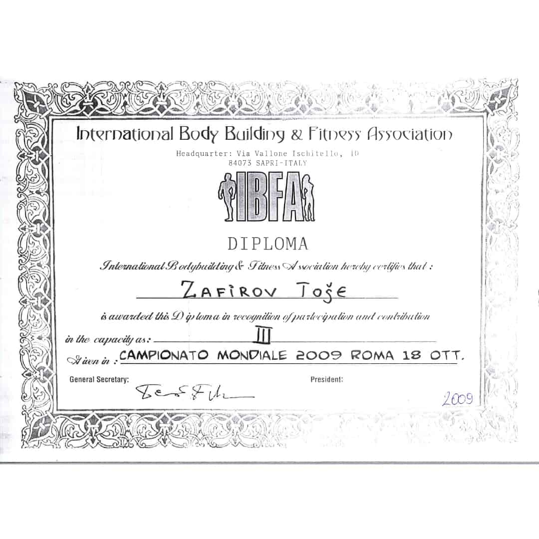"""IBFA diploma for Zafirov Tose on the """"Campionato Mondiale 2009 Roma 18 OTT."""" for getting in third place."""