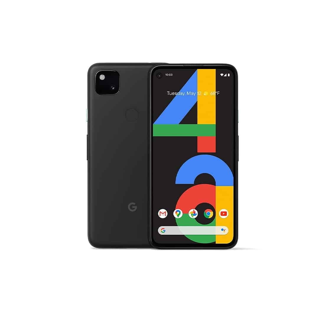 An image of black, Google Pixel 4, with both sides, on a white background.