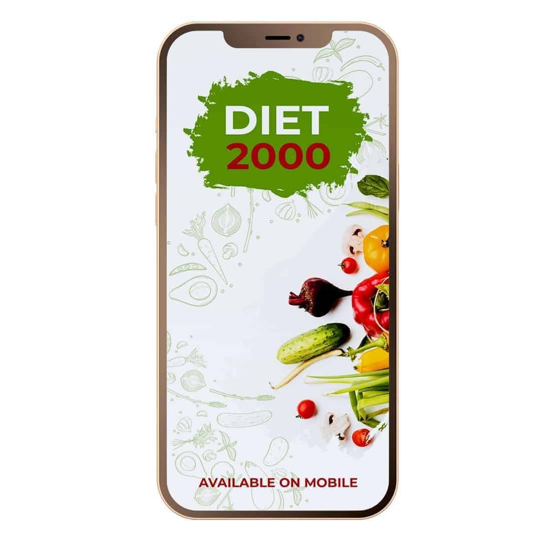 Diet 2000 Mockup Available on Mobile showcasing a lot of vegetables on the right side of the screen