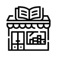 An animated image of a bookstore in black colour