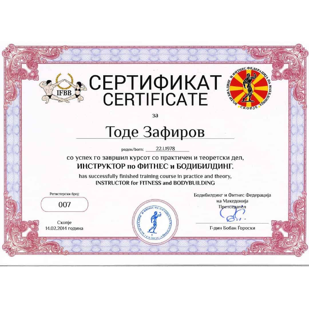 Tose Zafirov Certificate for being an instructor for fitness and bodybuilding