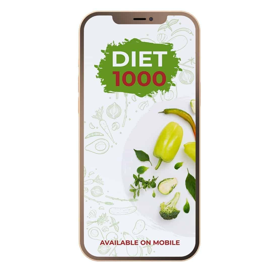 Diet 1000 Mockup Available on Mobile showcasing green vegetables in a plate