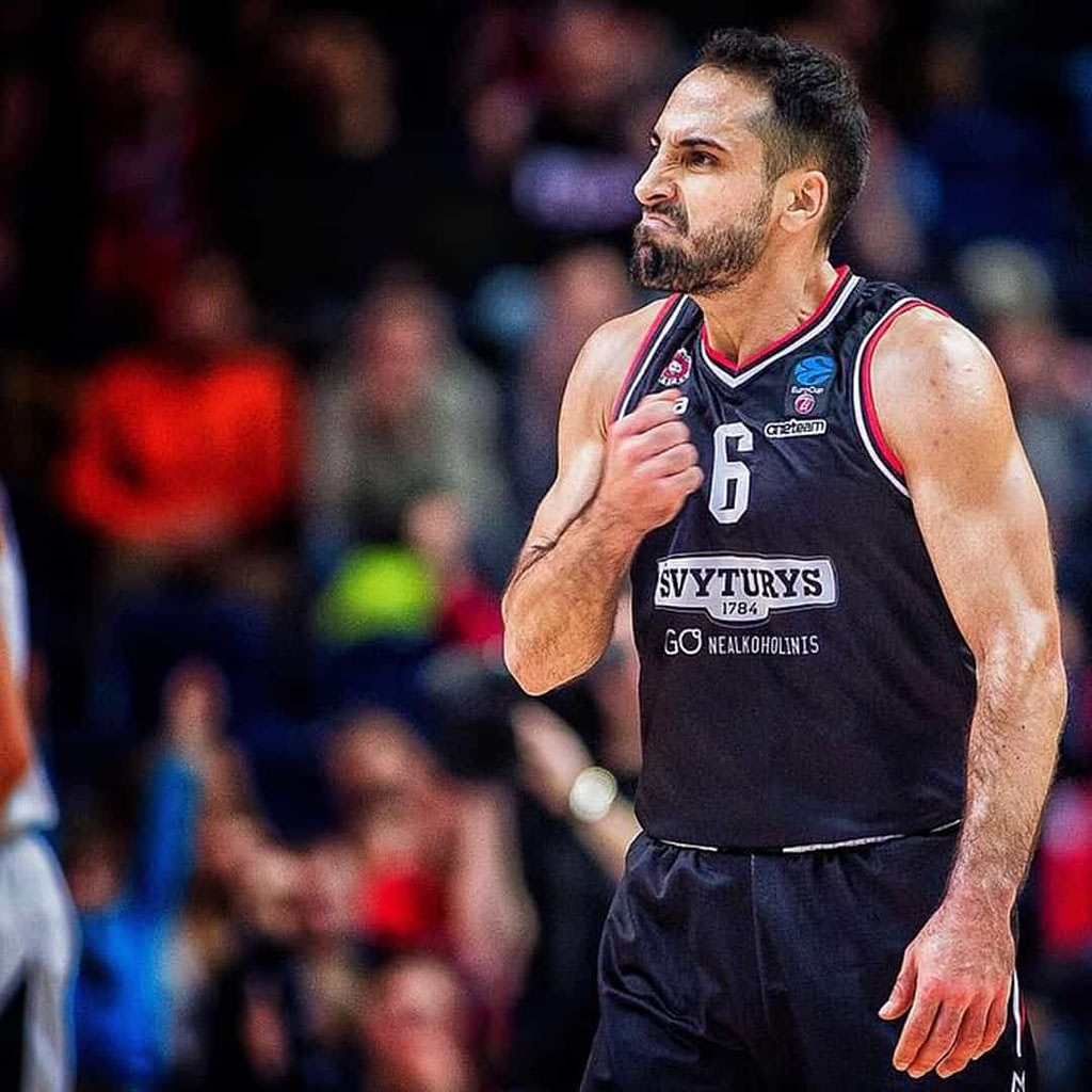 Rok Stipcevic during a basketball game wearing a jersey.