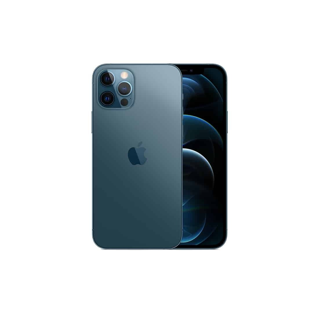 An image of blue, iPhone 12, with both sides, on a white background.