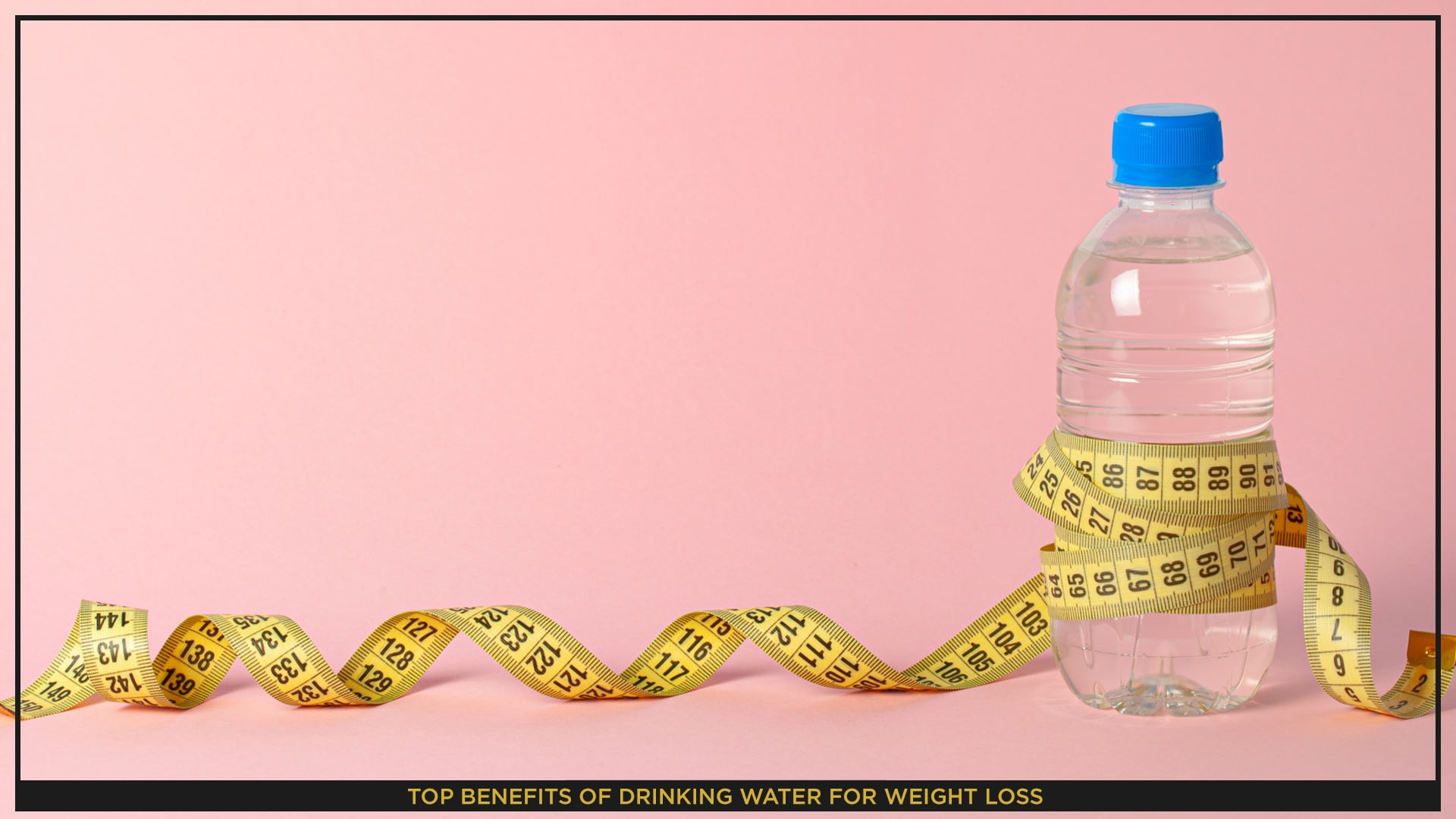 An image of bottle of water on a pink background, with a tool for taking measurements around it.