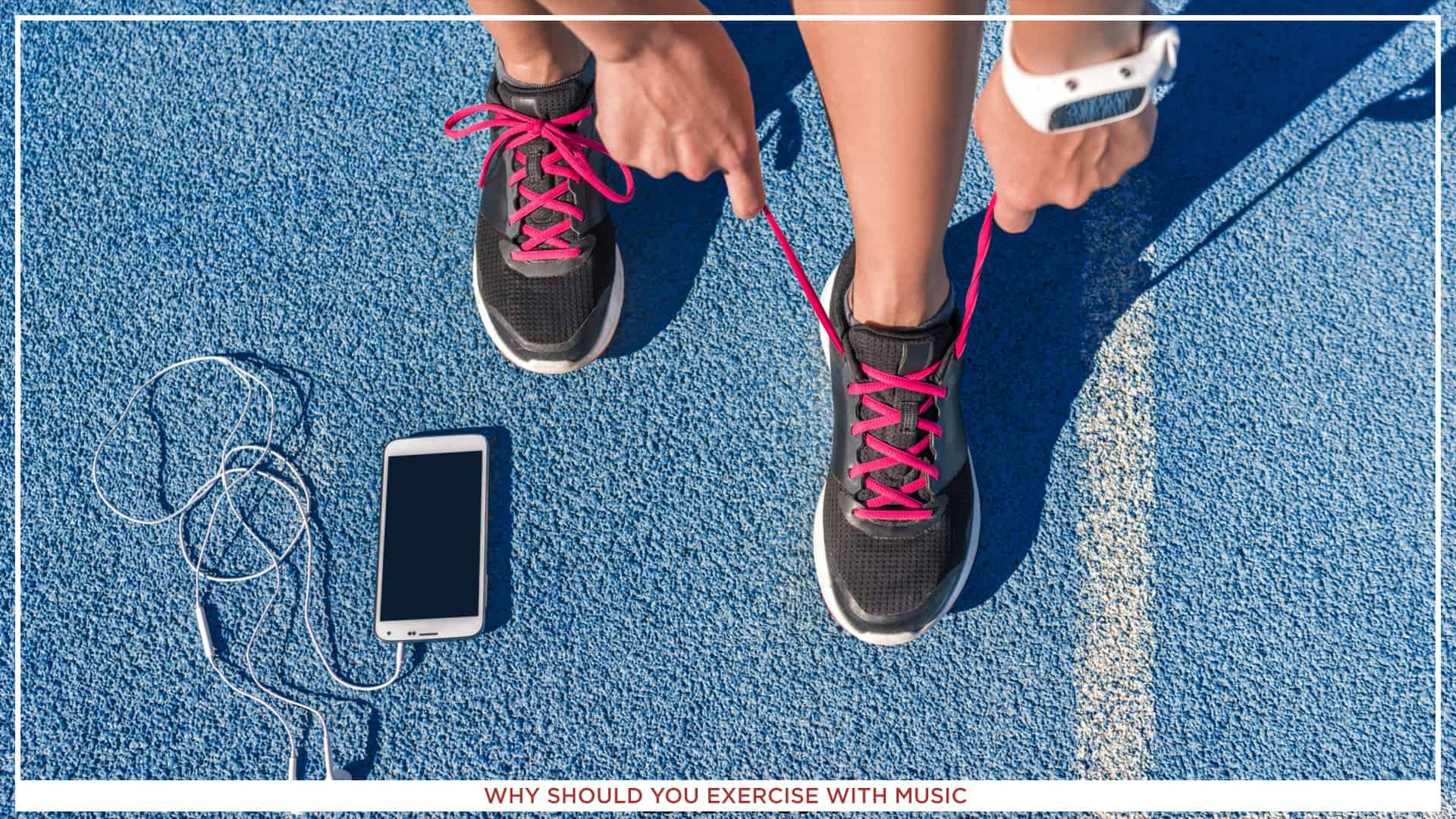 An image of someone's hands, while he ties the sneakers, with a white smartphone with white earphones on the blue ground.