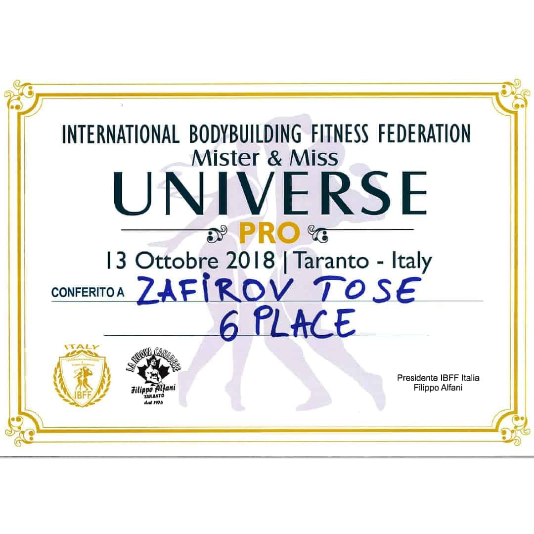Certificate from International Bodybuilding Fitness Federation for attending ''Mister & Miss Universe PRO 2018'' for Tose Zafirov winning 6th Place