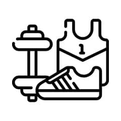 An animated image in black of sports equipment, t-shirt, sneakers, and weights.