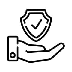 an animated image in black colour of hand holding up a verified symbol