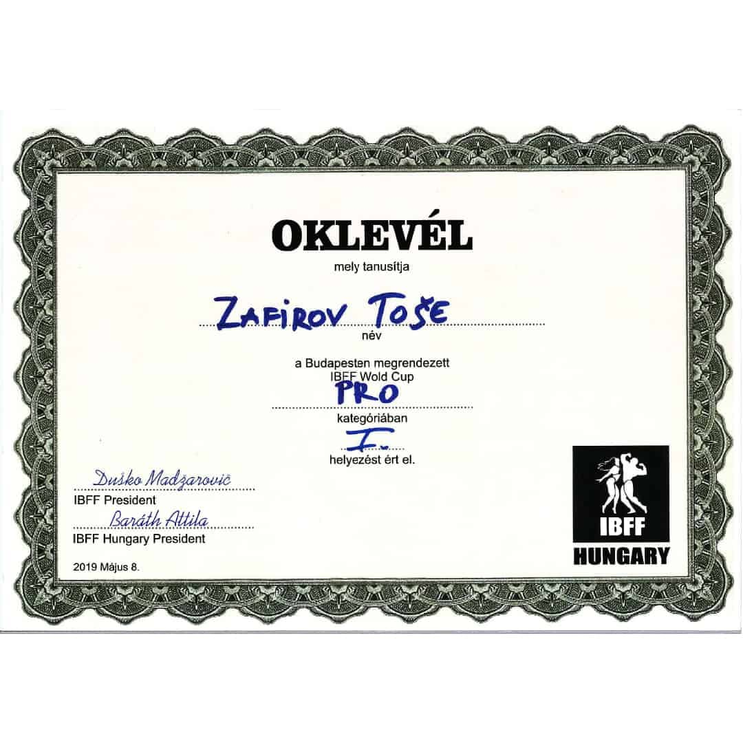 Oklevel - Tose Zafrirov for Winning First Place in 2019 competition IBFF Hungary