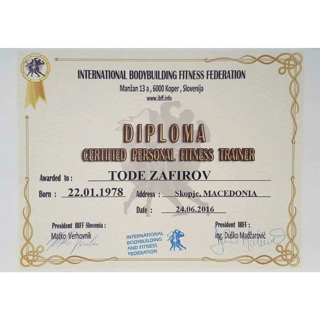A diploma of certification from IBFF for being a personal trainer, given out to Tose Zafirov in 2016
