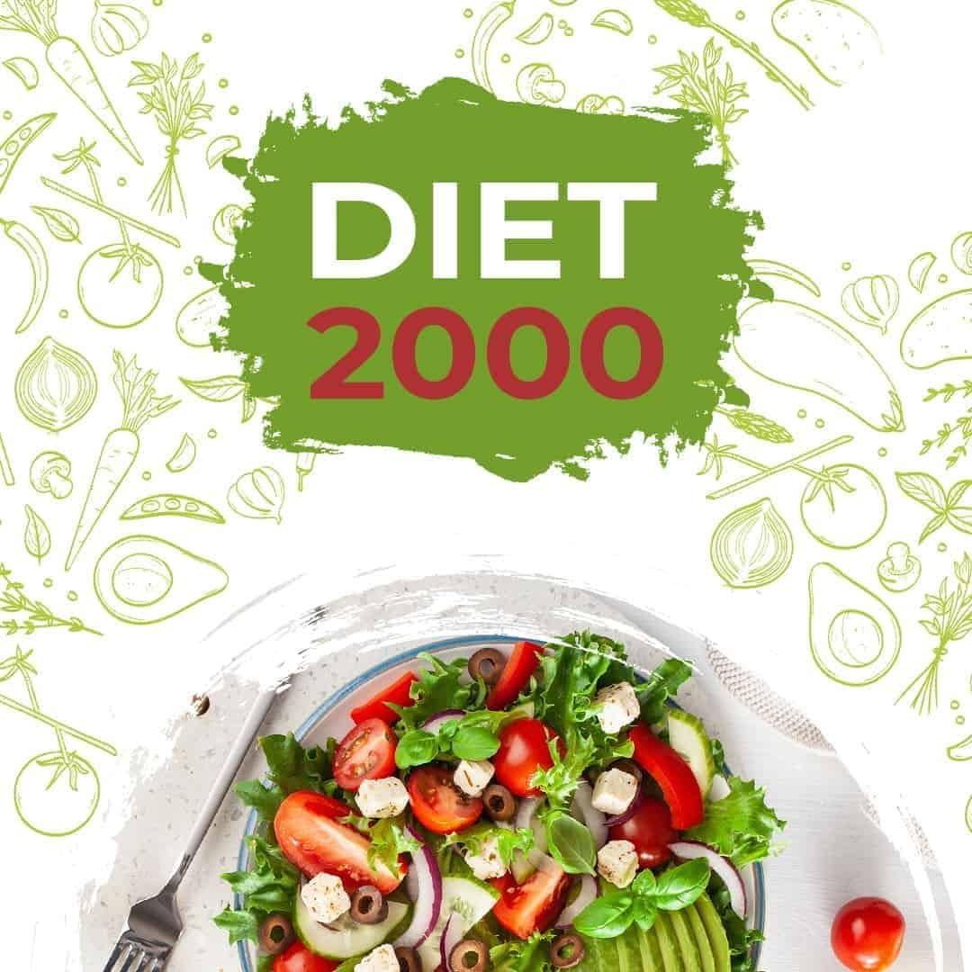Diet 2000 image showcasing a healthy diet, with salad on the lower part of the image.