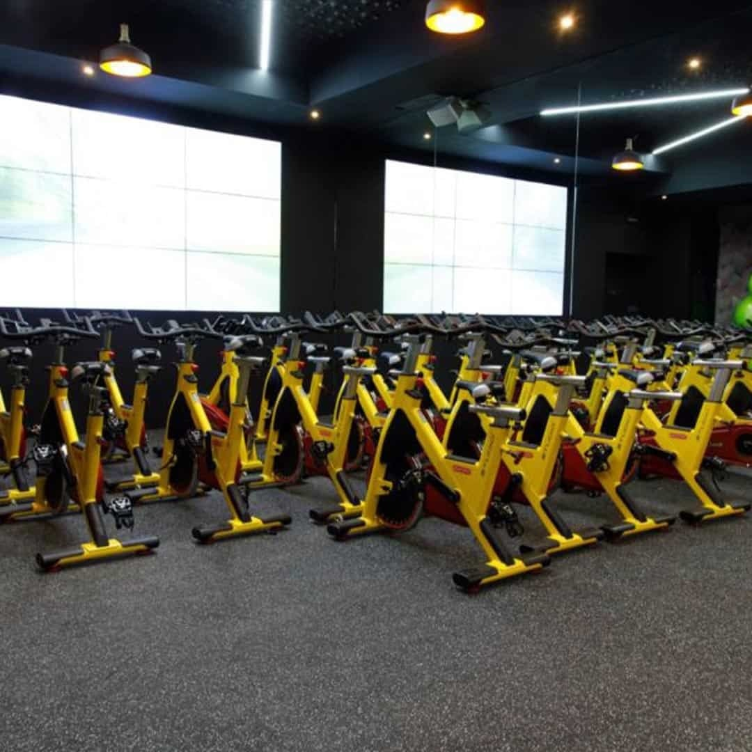 An image of the Pulse Fitness Center, with yellow exercising bikes on it.