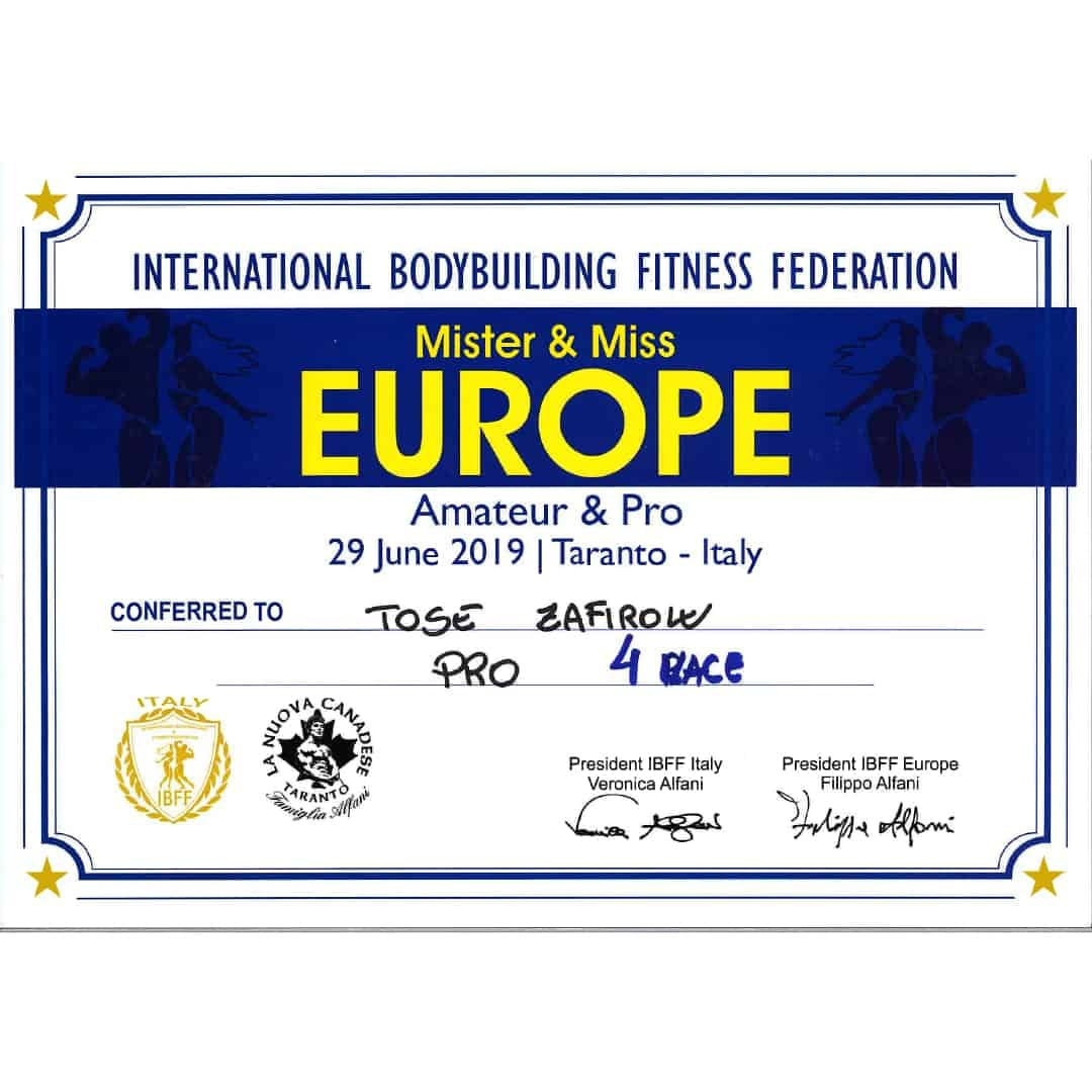 Mister & Miss Europe, Amateur and Pro certification given to Tose Zafirov for getting in 4th place in the PRO category in 2019