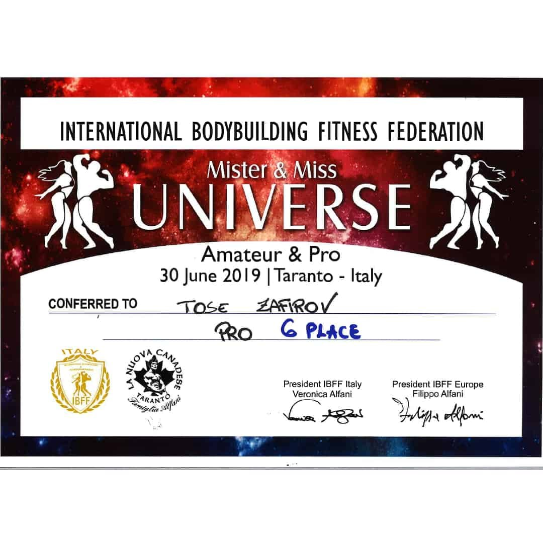 ''Mister & Miss Universe, Amateur and Pro'' certification, given to Tose Zafirov for getting in 6th place in the PRO category in 2019