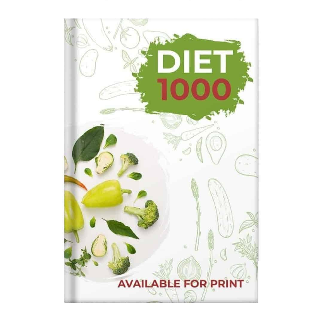 Diet 1000 Mockup Available for Print showcasing broccoli and green peppers in a white plate on the left side of the image