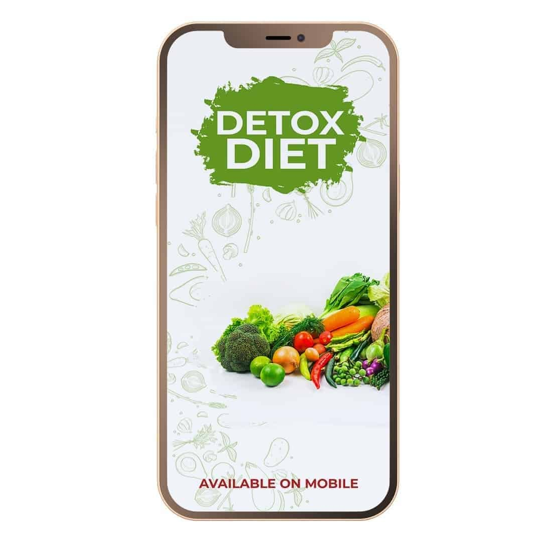 Detox Diet Mockup Available on Mobile where we can see an image of plenty of vegetables on a white background