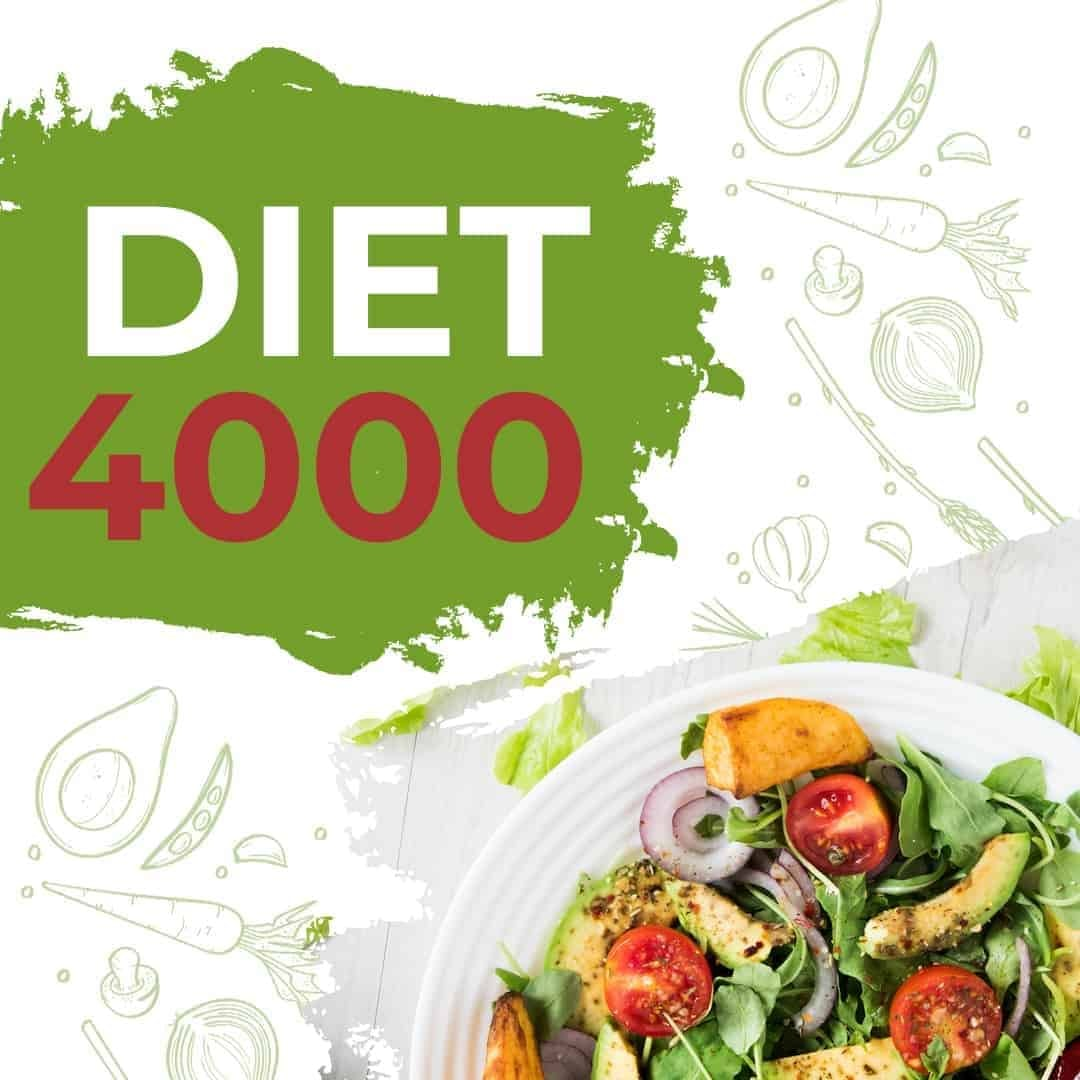 Diet 4000 showcased that it is Available anywhere, with a white plate with salad on the right, lower corner.