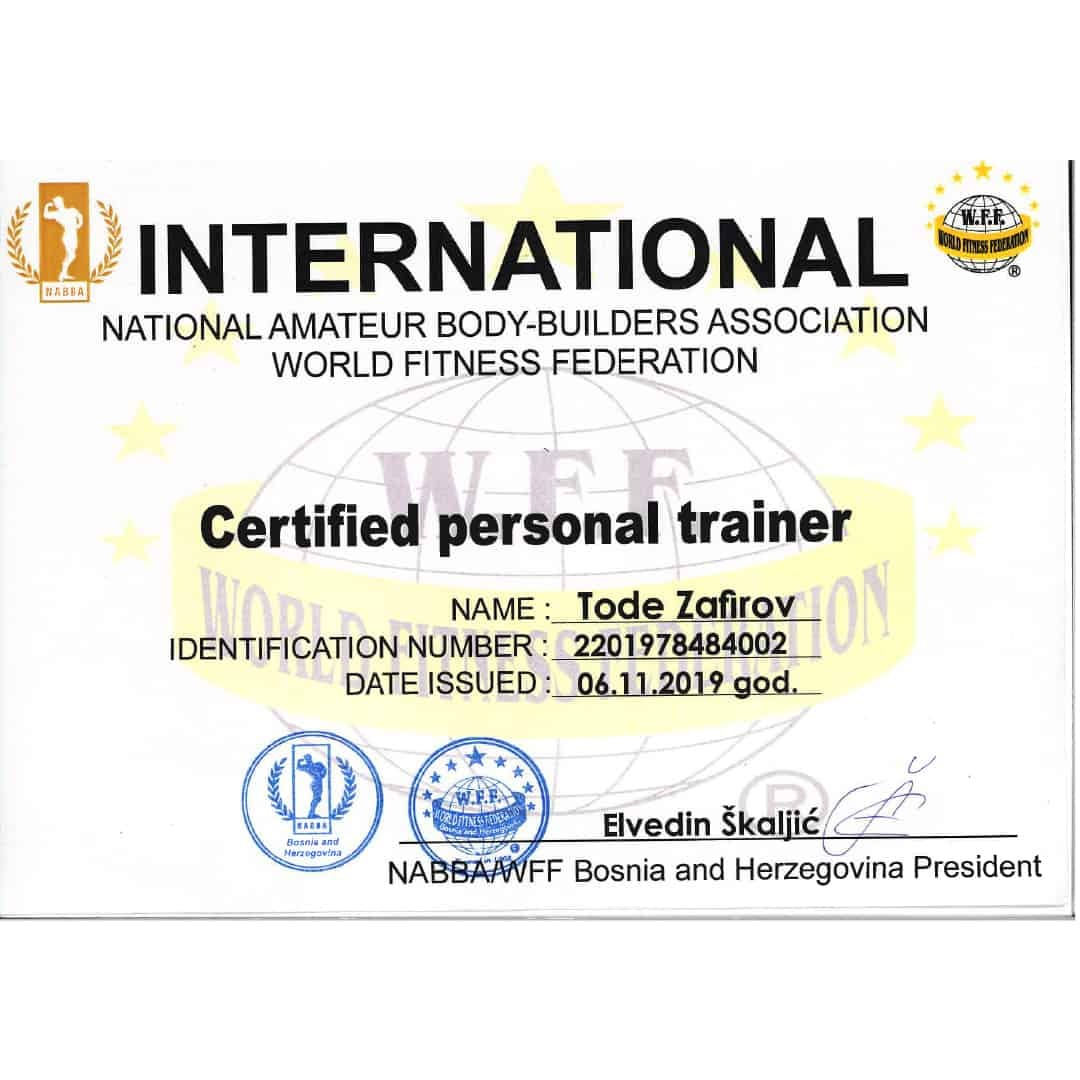 The ''international amateur body-building association and world fitness federation'' certificate for personal trainer to Tose Zafirov given on 6.11.2019 god